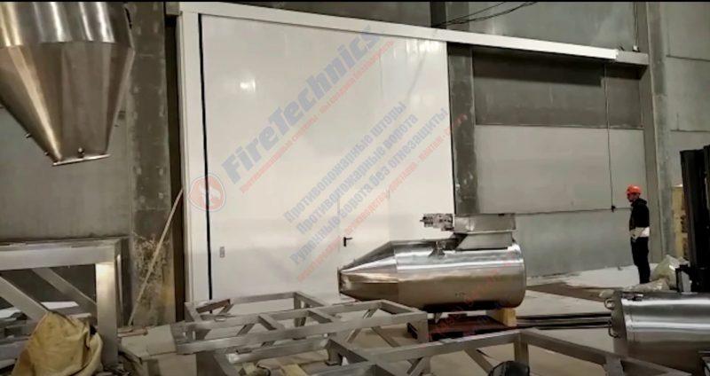 Откатные противопожарные ворота FireTechnics EI60, с калиткой